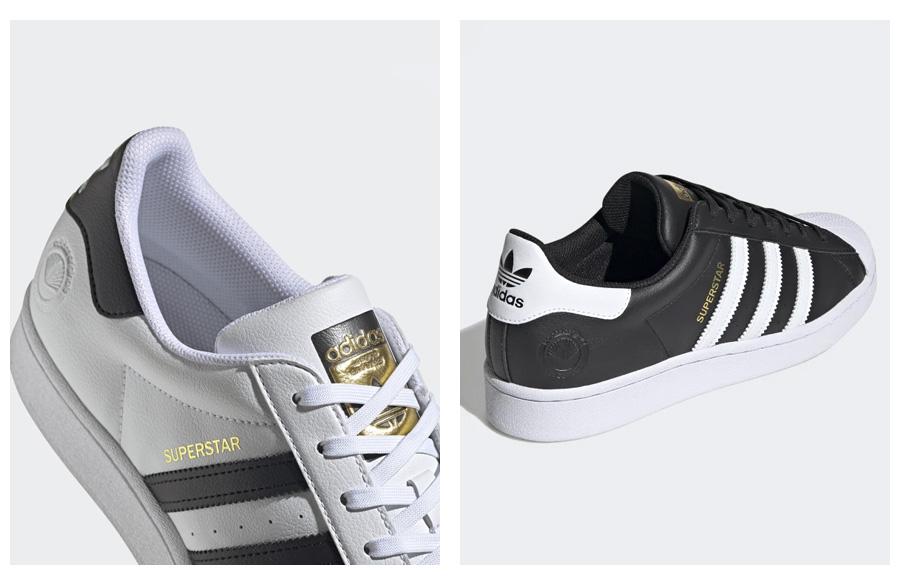 Adidas Superstar Vegan kúsok vyrobený bez použitia živočíšnych materiálov.