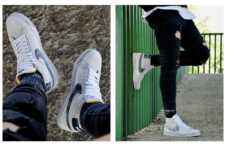 Zvetraný náter, vyblednutý lak Nike SB Blazer new white